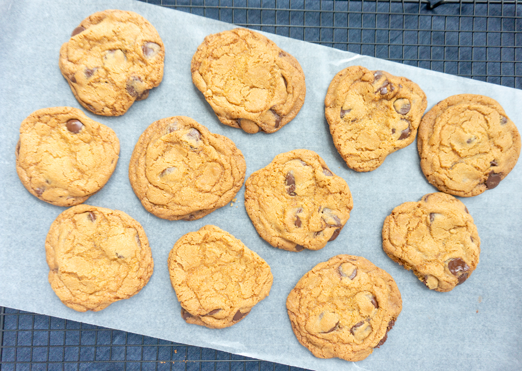 Crunchy Chocolate Chip Cookies on cooling rack