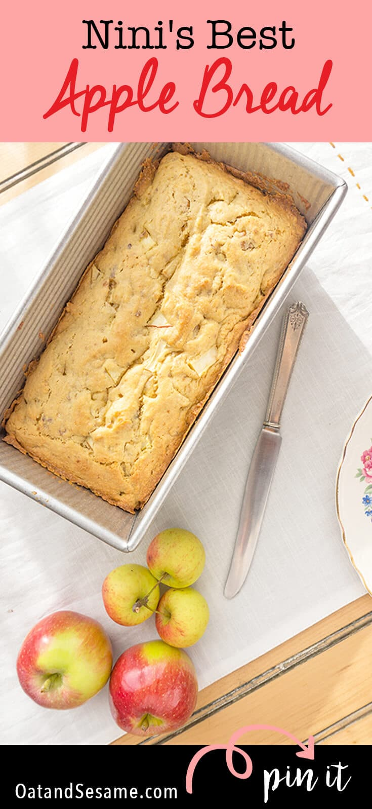 Nini Rice's Apple Bread. Grandma's are the best at making quick breads! This one is a favorite! It's moist and buttery with plenty of apple chunks and nuts! | #APPLES | #BREAD | #BAKING | #Recipes at OatandSesame.com