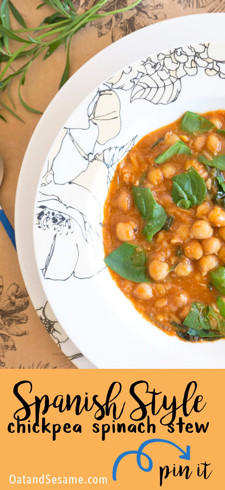 Spanish Style Chickpea Spinach Stew - hearty and full of warm smoky paprika! | #SOUP | #STEW | #CHICKPEA | #VEGETARIAN | #Recipes at OatandSesame.com