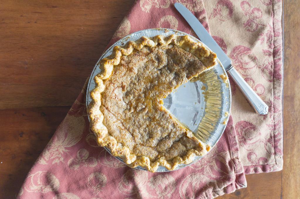 overhead view of pumpkin pie