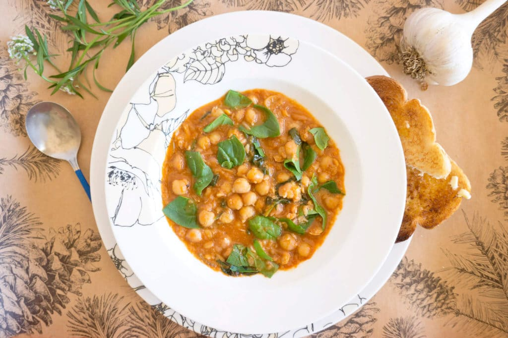 Spanish Style Chickpea Spinach Stew