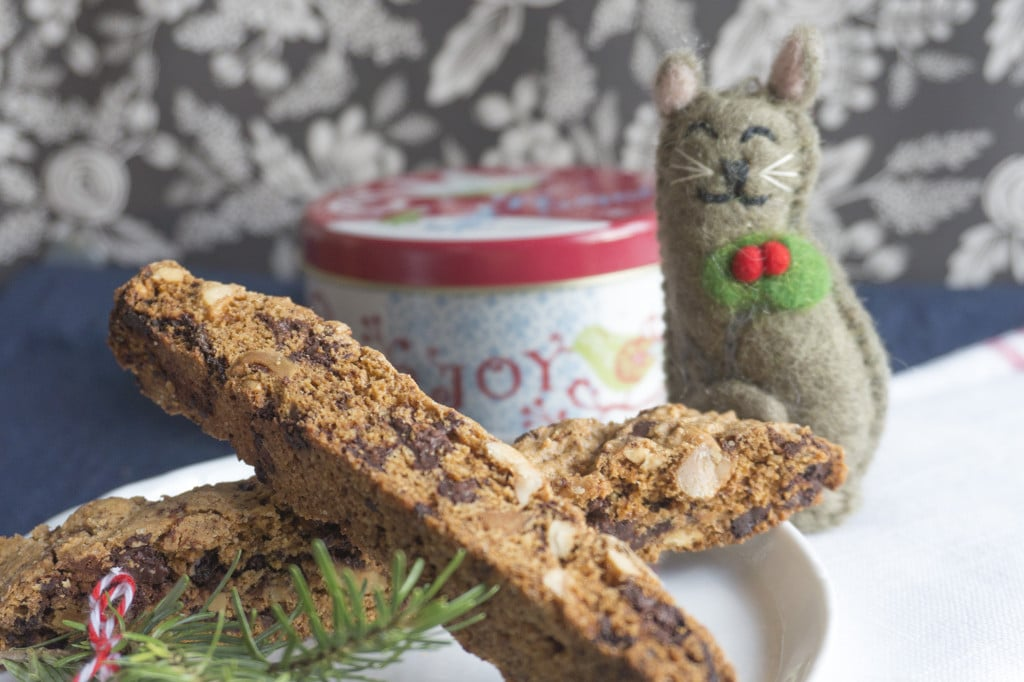 Dark Chocolate Hazelnut Biscotti with Christmas Kitty