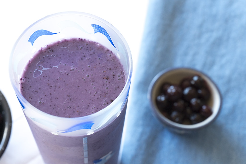 Wild Blueberry Chai Smoothie in glass