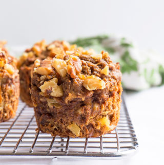 muffin with walnuts on cooling rack