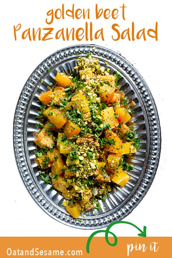 Golden Beet Salad on a silver platter