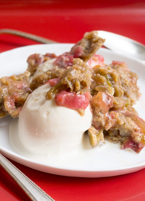 Rhubarb Crunch on plate with ice cream