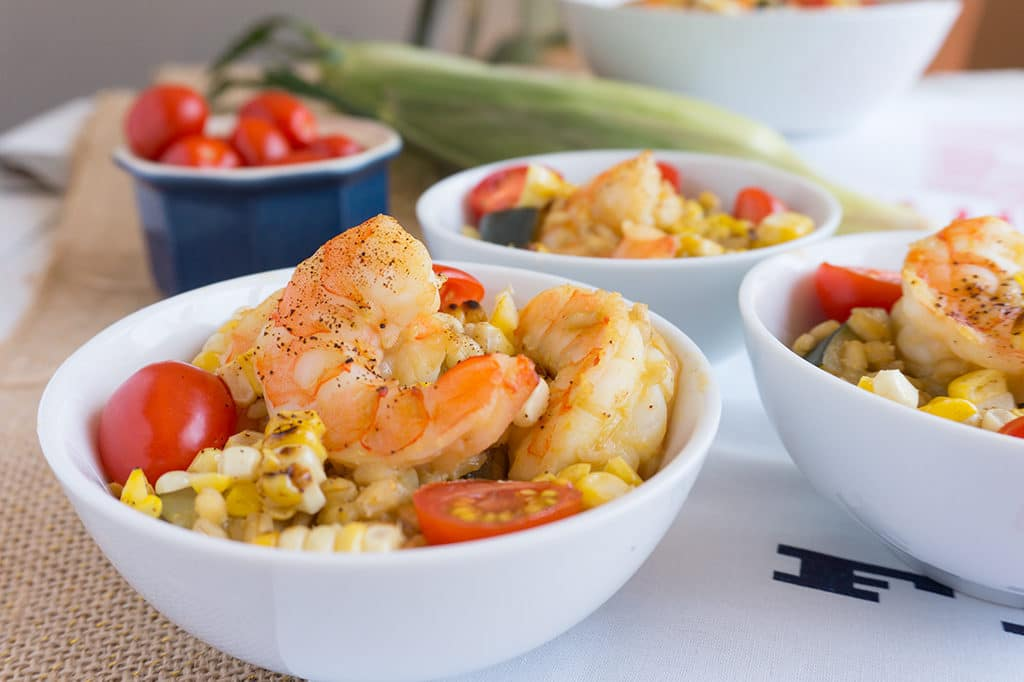 Shrimp, Zucchini and Sweet Corn Risotto in bowls