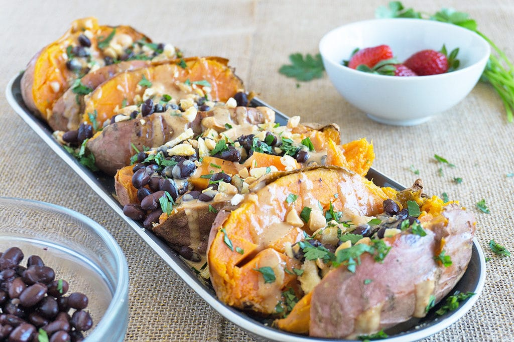 Stuffed Sweet Potatoes on plate
