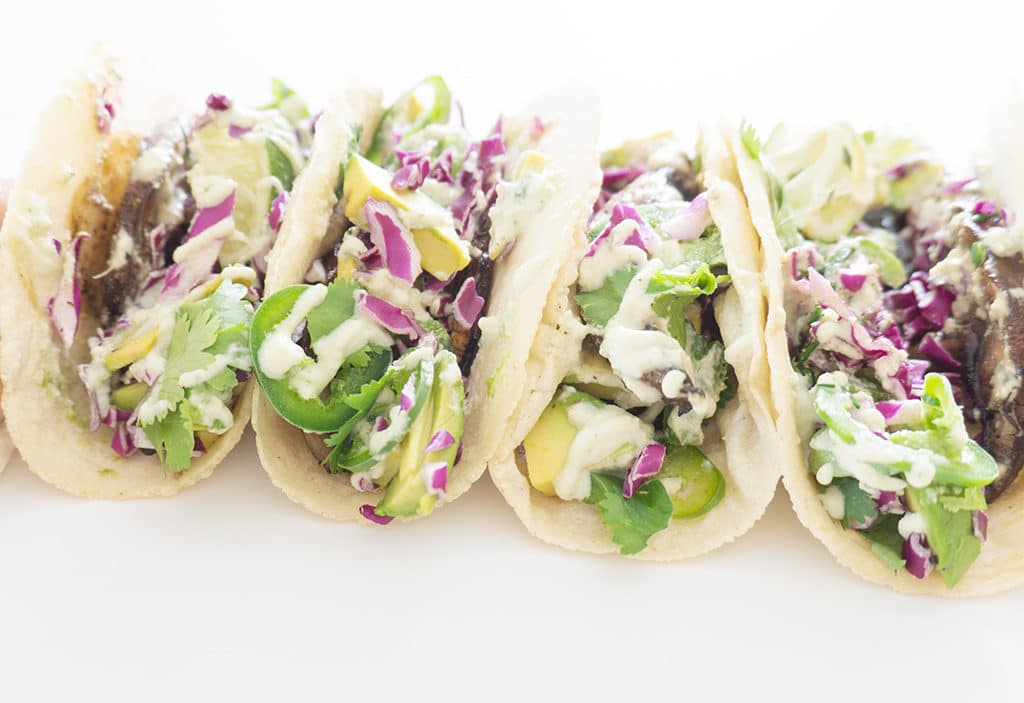 Veggie Tacos in a lineup