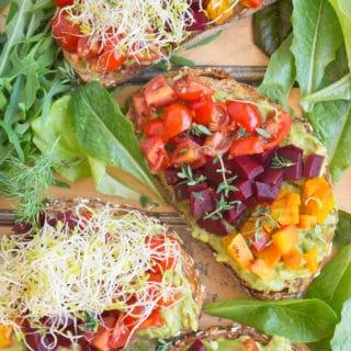 Beet and Avocado Open Faced Sandwiches