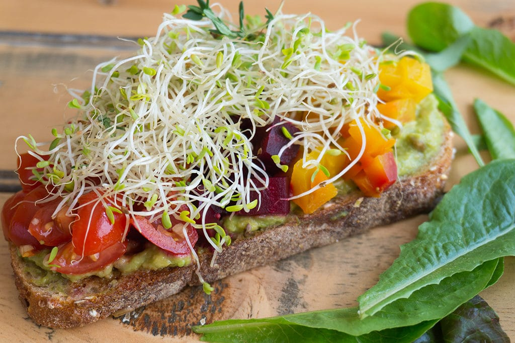 Beet & Avocado Open Faced Sandwiches - close up