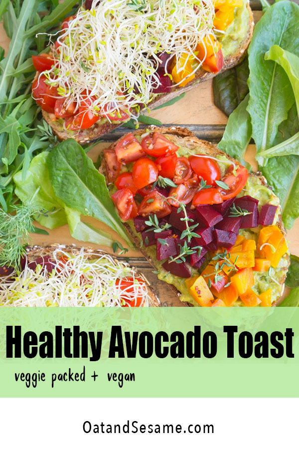 A super Healthy Avocado Toast, packed with veggies on a crisp multi-grain bread. Beets, tomatoes, herbs, seeds, sprouts and balsamic vinaigrette. | #healthyrecipes | #veganrecipes | #veganlunch | #vegetarianlunchideas | #beetrecipes | #avocadotoast at OatandSesame.com #oatandsesame