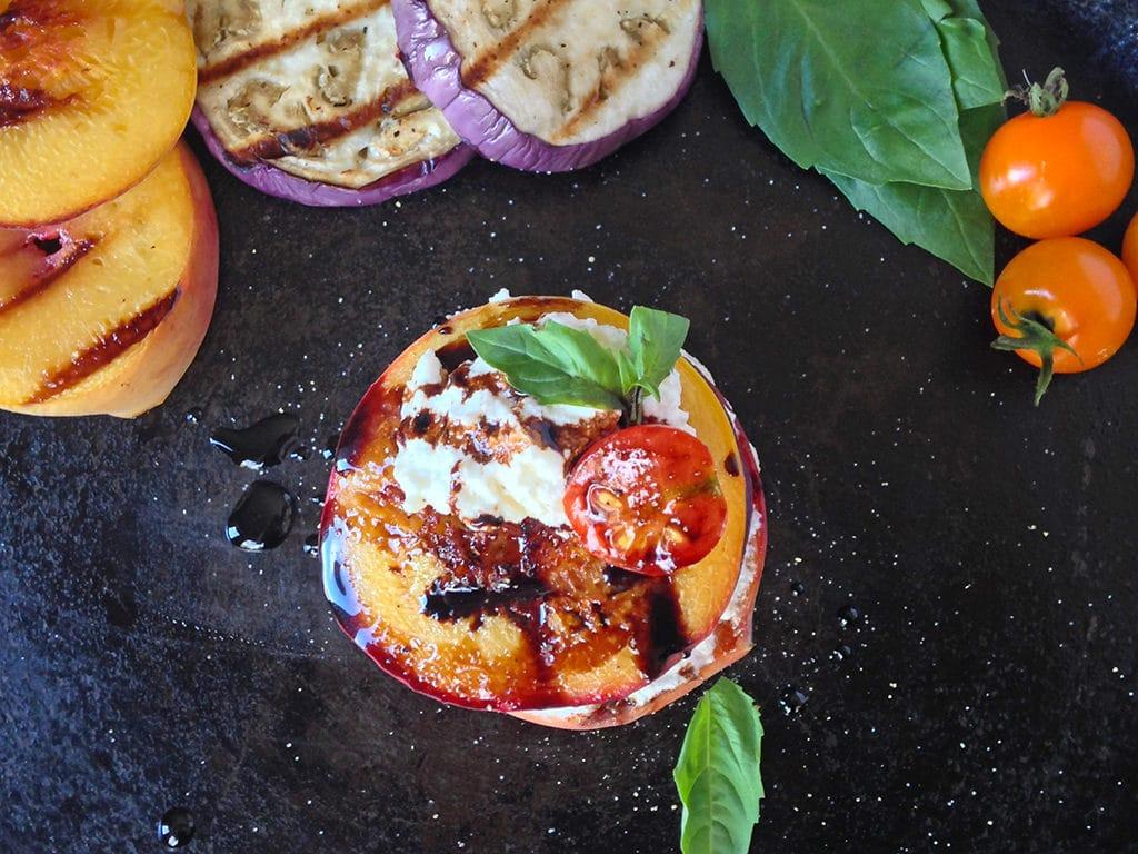 Grilled Eggplant Peach Ricotta Stack | OatandSesame.com