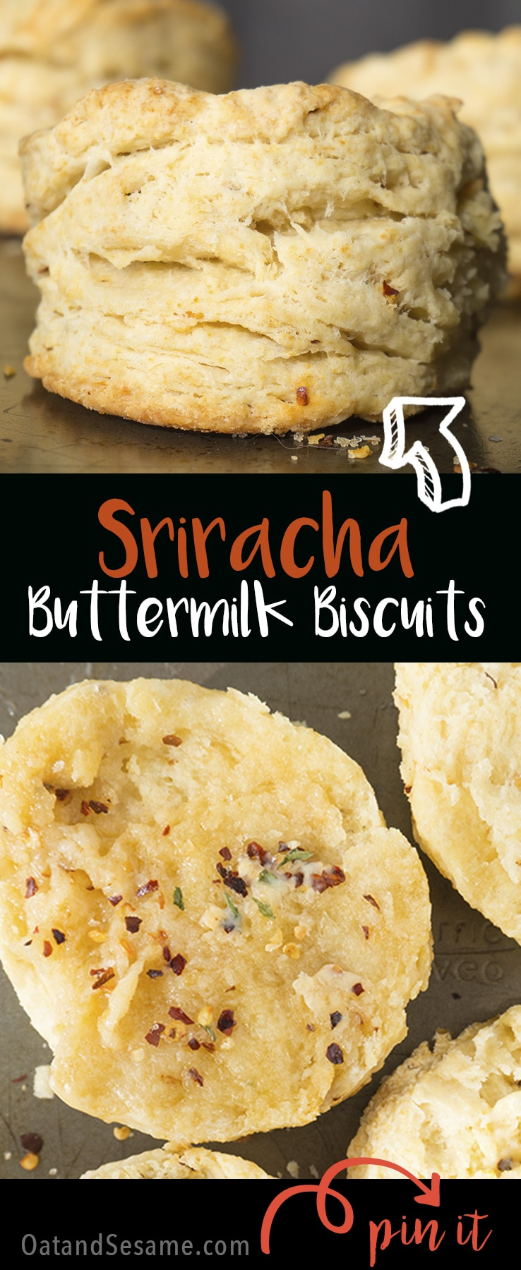 Spicy Sriracha Buttermilk Biscuits - breakfast with a kick! | SRIRACHA | BUTTERMILK | BISCUITS | SPICY | BREAKFAST |Recipe at OatandSesame.com