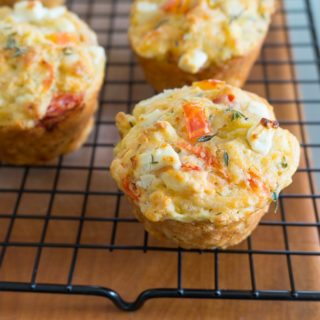 Tomato, Zucchini, Corn & Feta Muffins on cooling rack