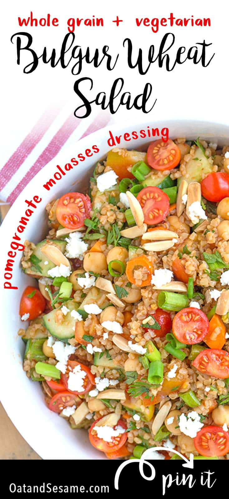 Turkish Bulgur Wheat Salad with Tomatoes and Cucumbers - fresh, quick and healthy - tossed with a yummy pomegranate molasses dressing! | #SALAD | #VEGETARIAN | #WHOLEGRAIN | #Recipes at OatandSesame.com