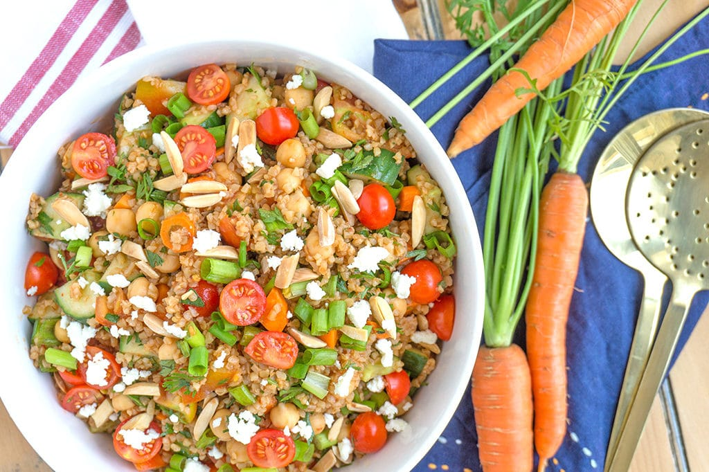 Turkish Bulgur Wheat Salad with Tomatoes and Cucumbers overhead