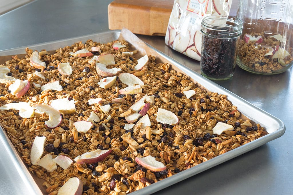 Apple-Currant Granola on baking sheet