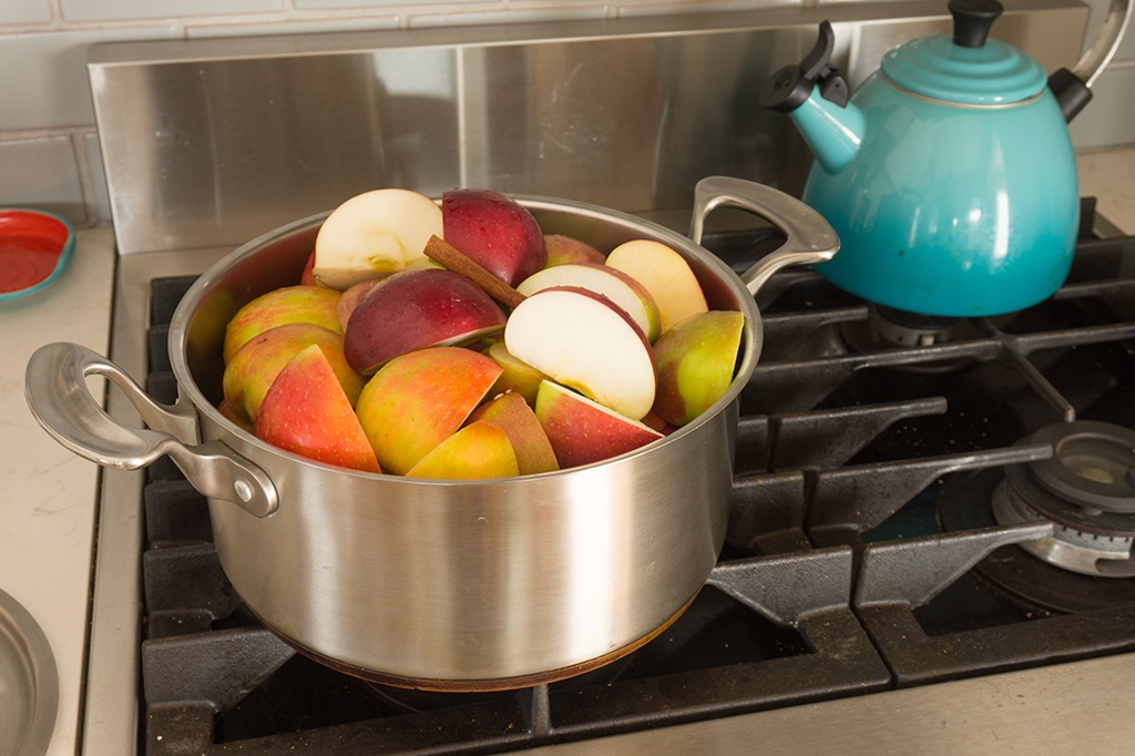 apples in a stock pot on the stove