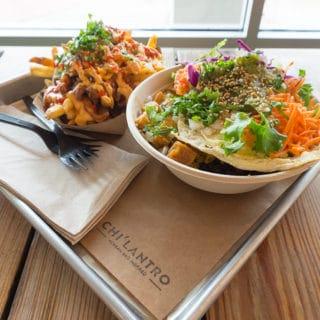 Chi'Lantro-Kimchi Fries + Veggie Bowl