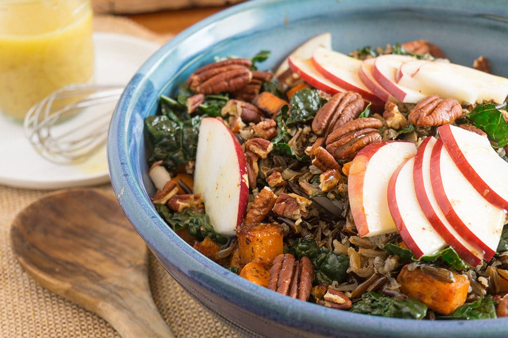 Wild Rice with Apples, Kale & Cider Vinaigrette in bowl