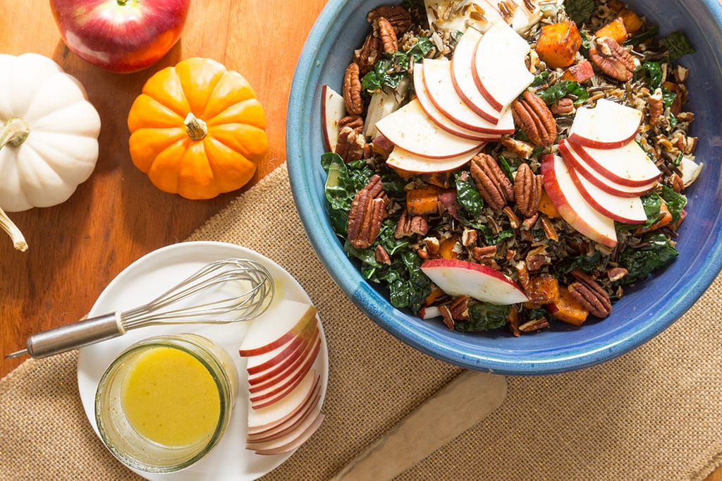 Wild Rice with Apples, Kale & Cider Vinaigrette - overhead