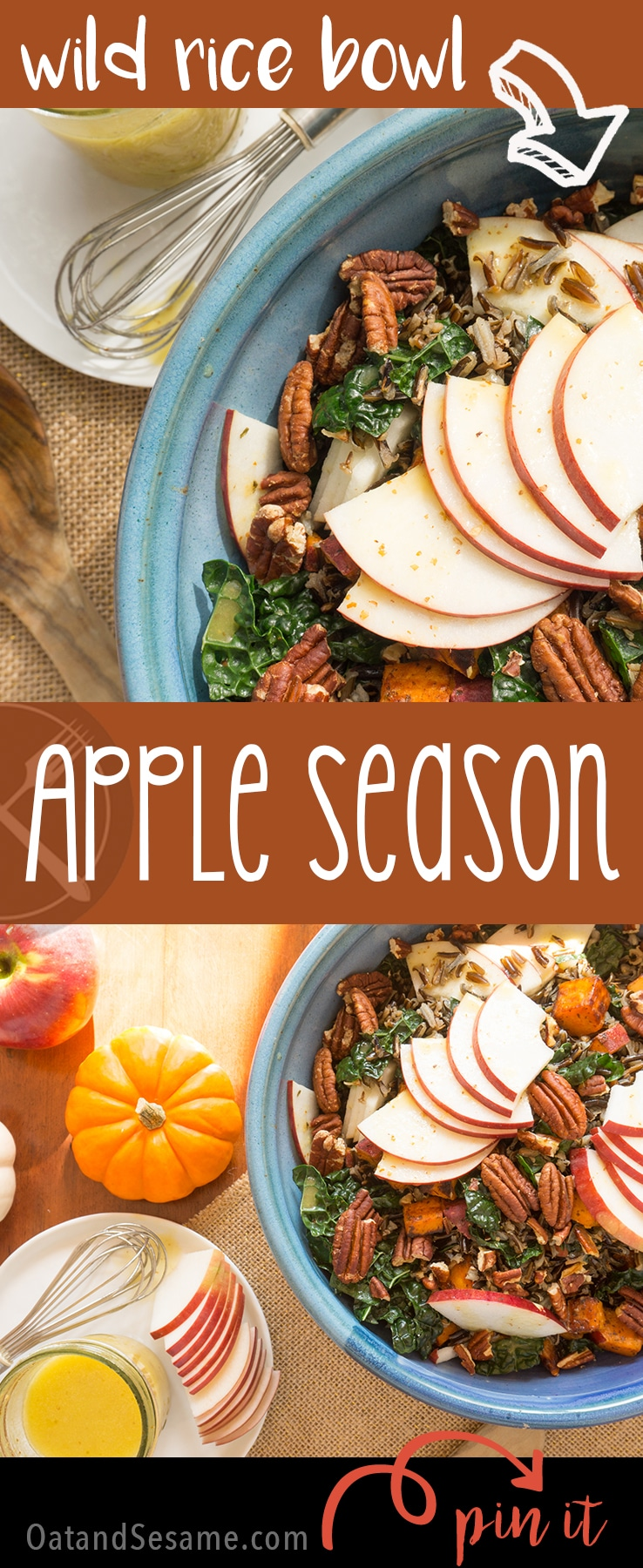 Wild Rice with Apples, Kale and Cider Vinaigrette is my most favorite fall creation yet! Full of greens and packed with apple flavors, it's an irresistible combination | #SALAD | #WILDRICE | #FALL | #APPLES | #Recipes at OatandSesame.com