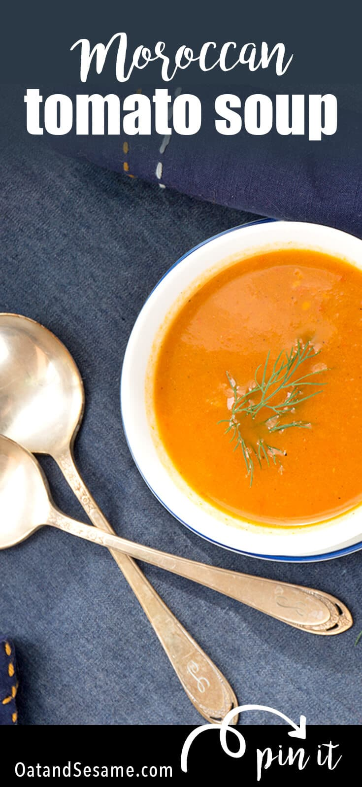 Spiced Moroccan Tomato Soup - an easy and simple twist on tomato soup! | #HEALTHY | #TOMATOES | #SOUP | #FALL | #MOROCCAN | #VEGETARIAN | #VEGAN | #Recipes at OatandSesame.com