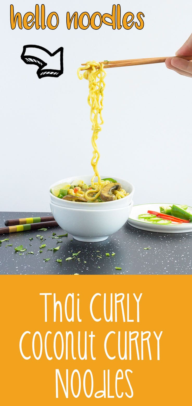 Thai Curly Coconut Curry Noodles - Lightning Fast Noodles! Comfort food in 5 min. Never say NO to curly noodles! | #ASIAN | #NOODLES | #CURRY | #Recipes at OatandSesame.com