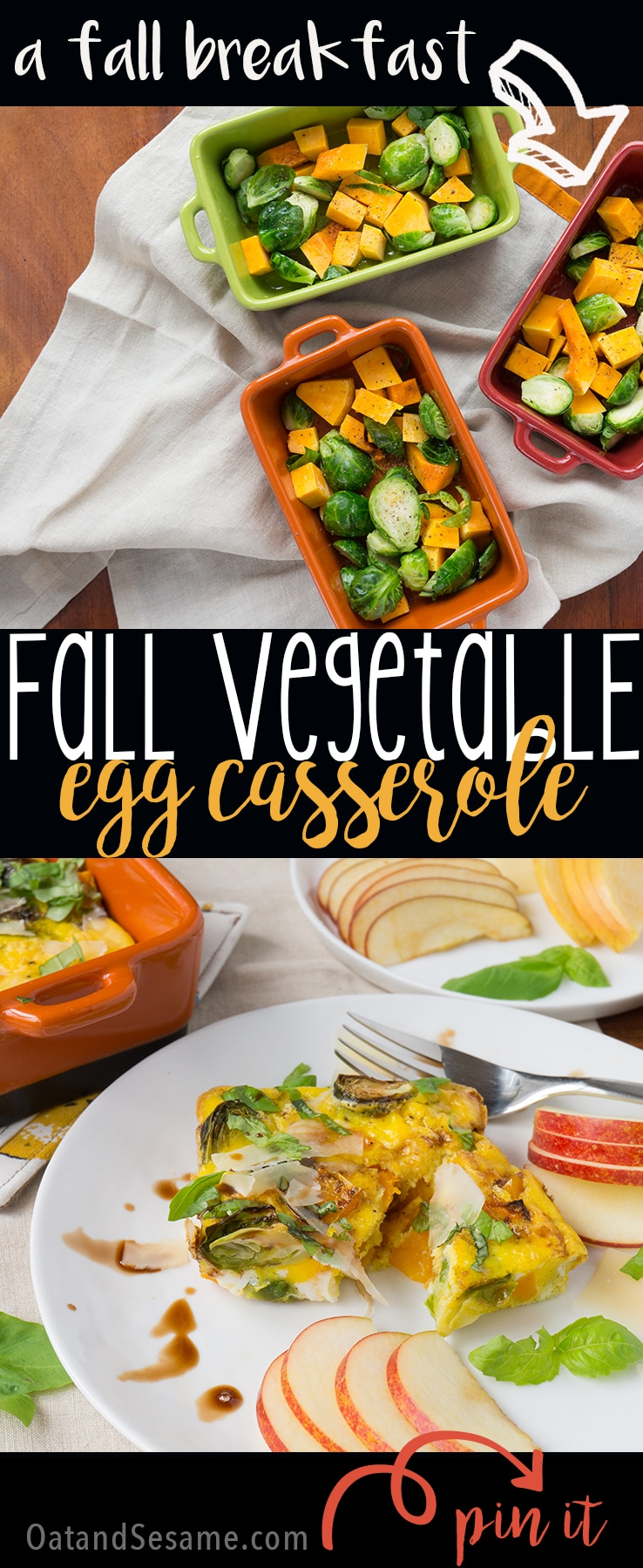A Fall inspired breakfast casserole - brussels sprouts, butternut squash, shaved parmesan and basil | #BREAKFAST | #EGGS | #CASSEROLE | #FALL | #BRUSSELS SPROUTS | #Recipes at OatandSesame.com