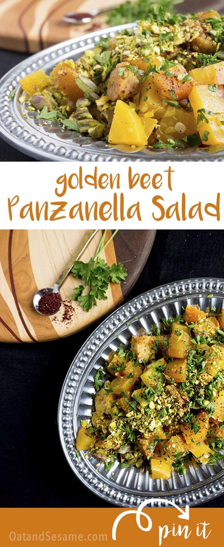 Golden Beet Panzanella Salad - tangy and citrusy with fresh golden beets! | | #BEETS | #VEGETARIAN | #Recipes at OatandSesame.com