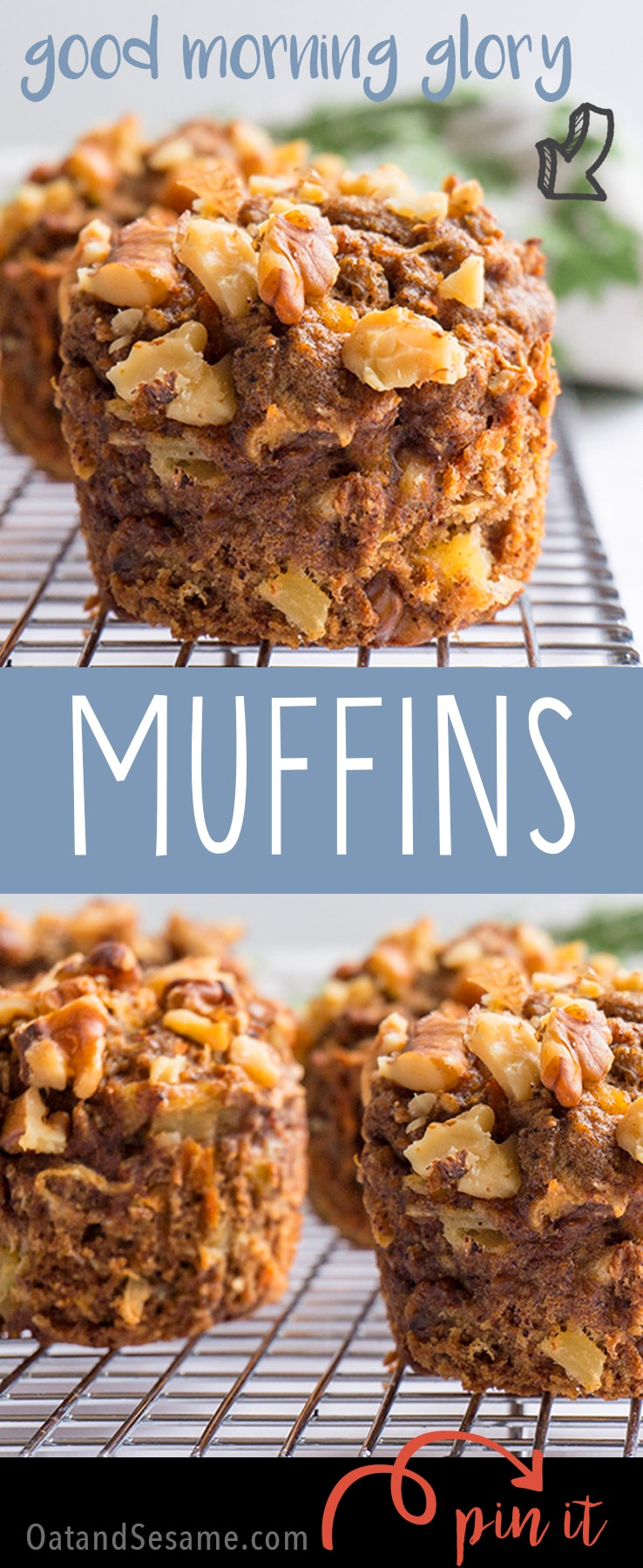 Good Morning Glory! These Healthy Morning Glory Muffins are packed with fruits and veggies! | #MUFFINS | #BREAKFAST | #HEALTHY | #BAKING | #Recipes at OatandSesame.com