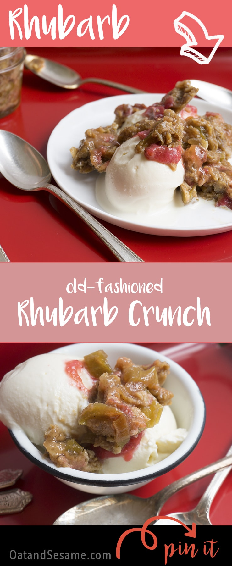Old-Fashioned Rhubarb Crunch - a family recipe that's great over ice cream! #RHUBARB | #DESSERT | #Recipes at OatandSesame.com