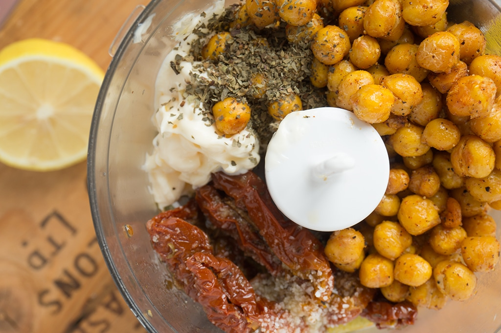 Spicy Roasted Chickpea spread ingredients in mixer