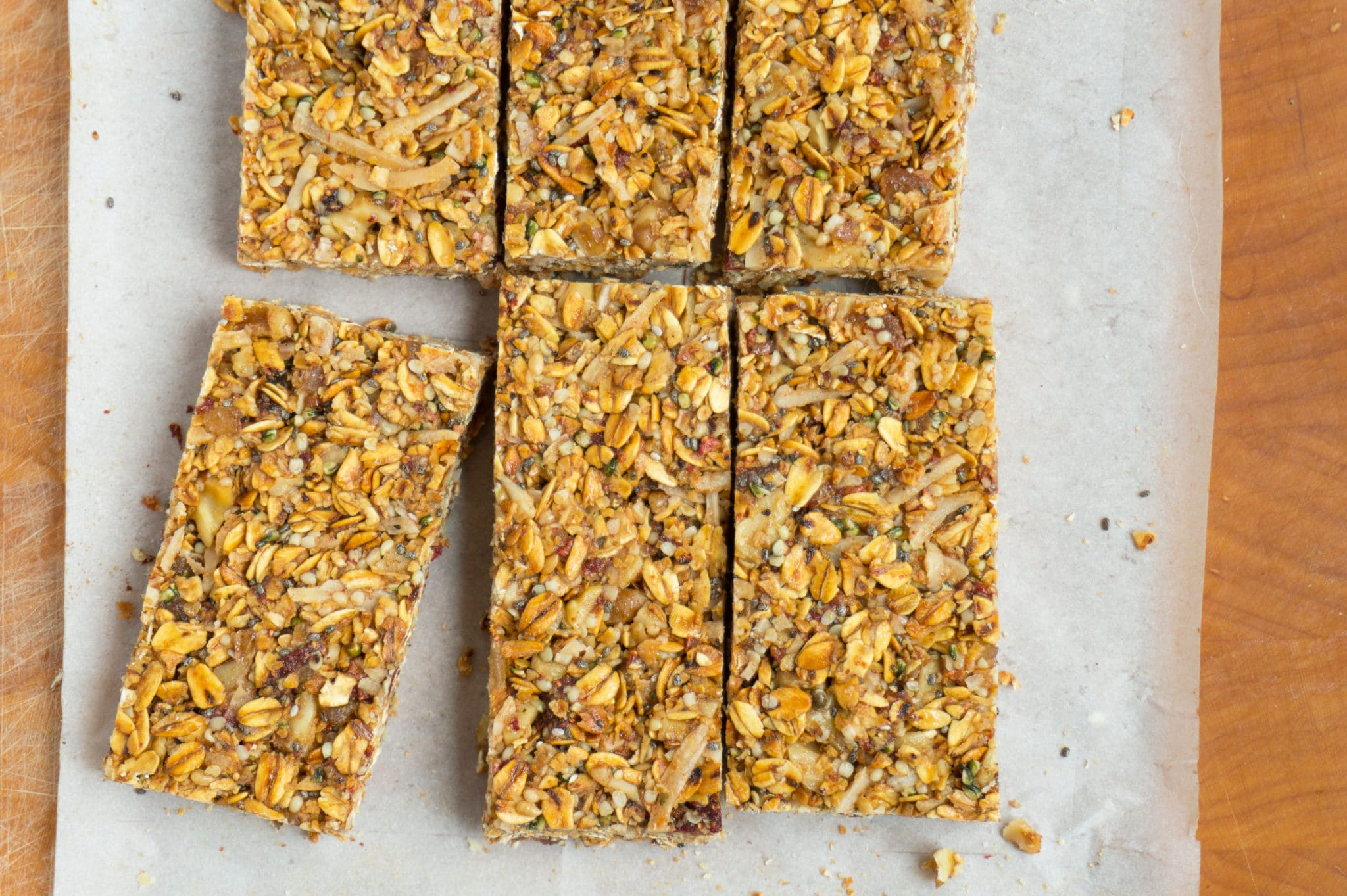 Strawberry-Ginger Granola Bars cut into rectangles