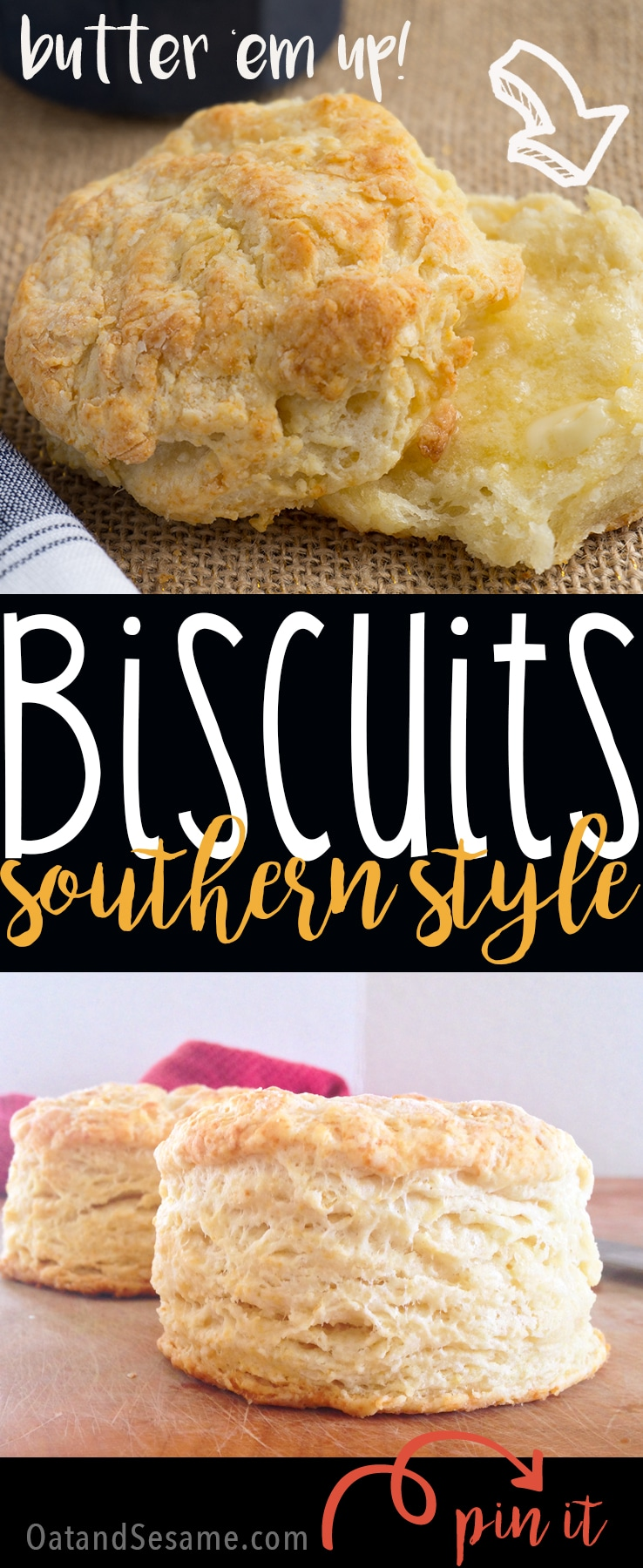 Tall Flaky Traditional Southern Buttermilk Biscuits | #BREAKFAST | #BISCUITS | #Recipes at OatandSesame.com