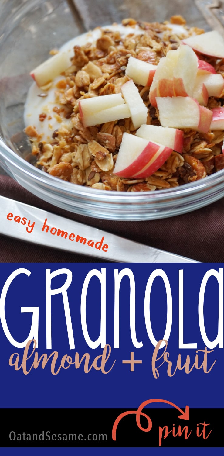 Easy Homemade Granola with Almonds in a glass bowl