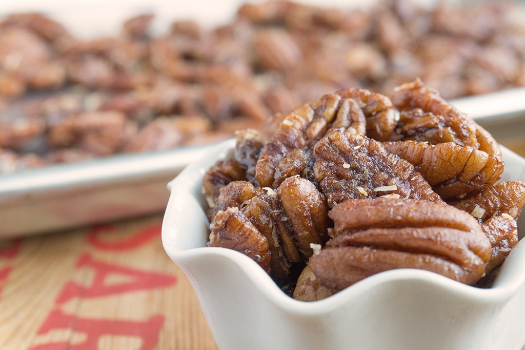 Apple Brandied Coconut Pecans - close up