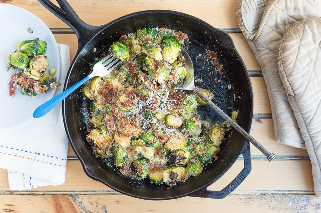 Bacon Brussels Sprouts in cast iron pan