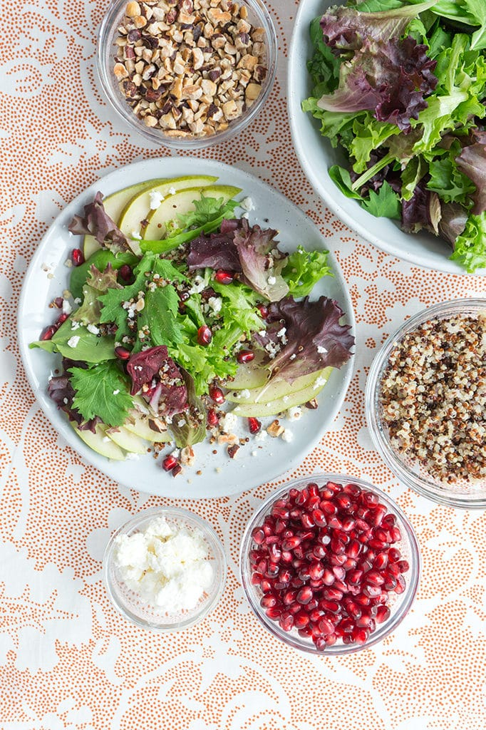 Fall Salad with Pear, Pomegranate & Orange Vinaigrette Vertical