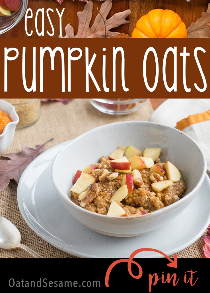 Pumpkin Oatmeal with Walnuts - quick, healthy and oh-so delicious - grab a bowl and enjoy breakfast | #FALL | #PUMPKIN | #OATMEAL | #HEALTHY | #BREAKFAST | #Recipes at OatandSesame.com