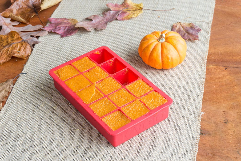 pumpkin puree in cubes