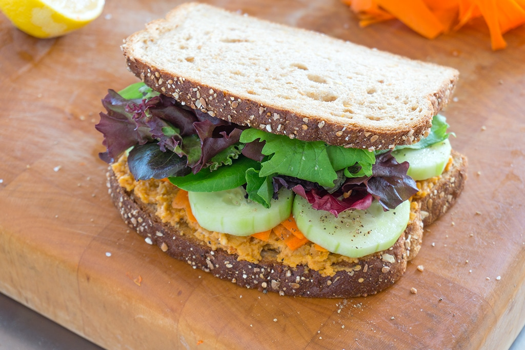 Roasted Chickpeas Veggie Sandwich