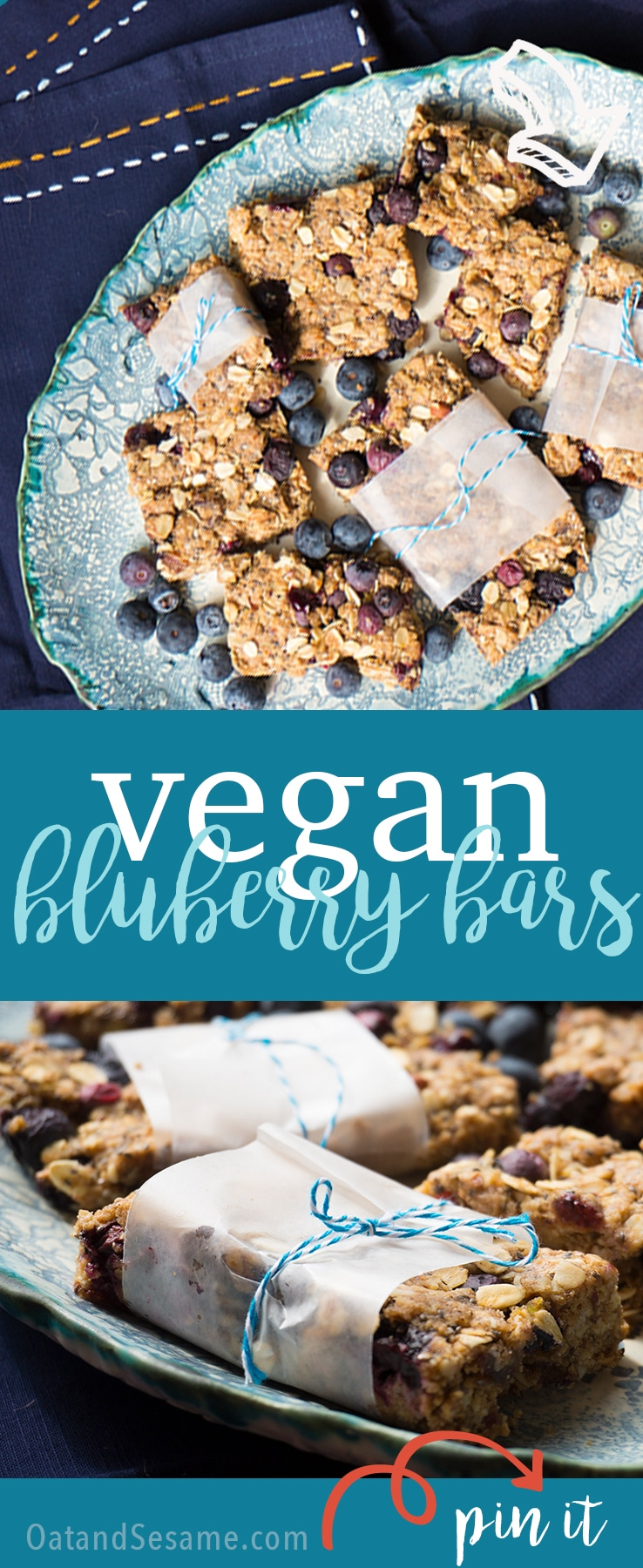 Blueberry Bars - healthy, delicious and vegan too! A great snack! | #VEGAN | #BLUEBERRY | #Recipes at OatandSesame.com