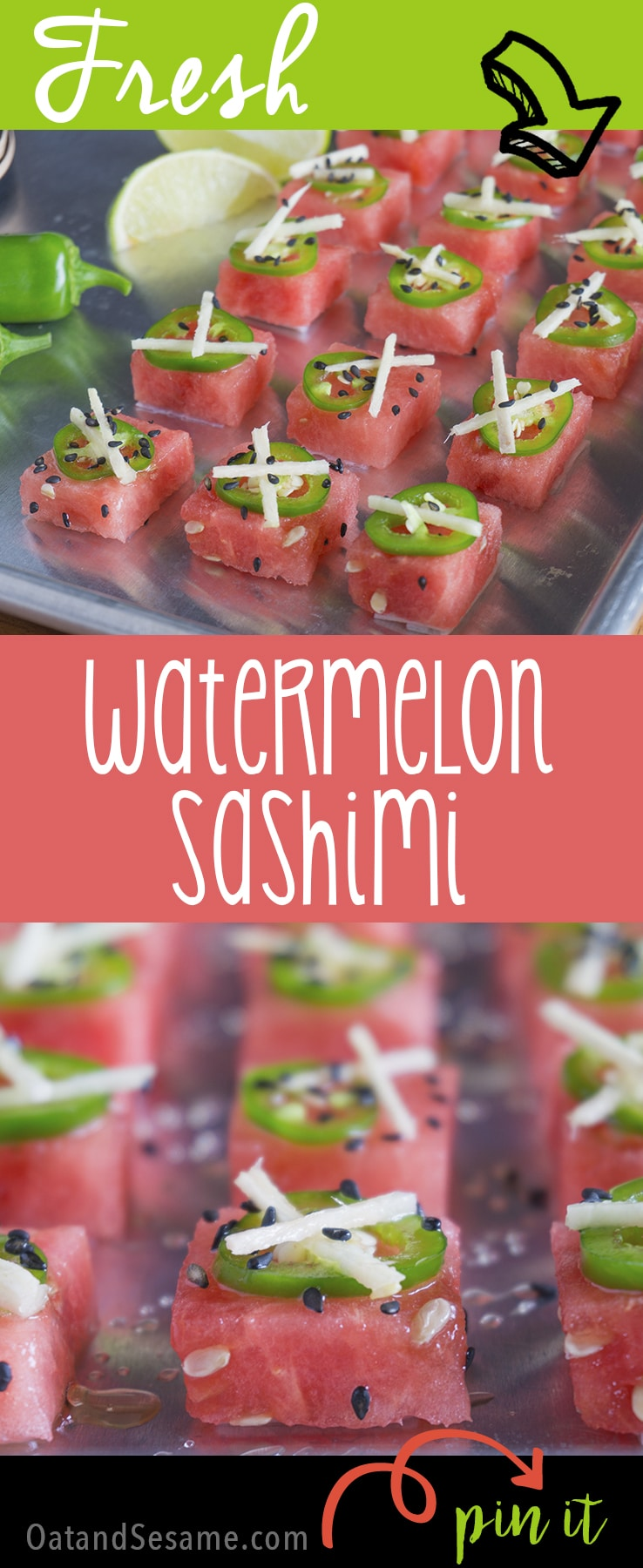Watermelon Sashimi for Summer! A Sweet and Spicy Party Appetizer! | WATERMELON | APPETIZER | HEALTHY | SNACK | FRUIT | Recipe at OatandSesame.com | Recipe at OatandSesame.com