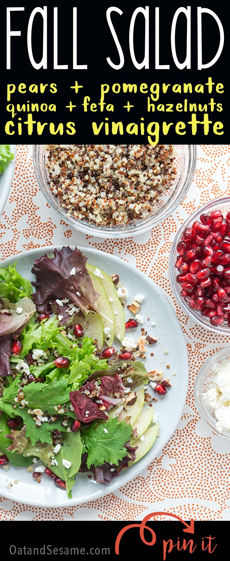 Fall Salad with pear, pomegranate & orange vinaigrette!| #SALAD | #VEGETARIAN | #HEALTHY | #FALL | #THANKSGIVING | #Recipes at OatandSesame.com