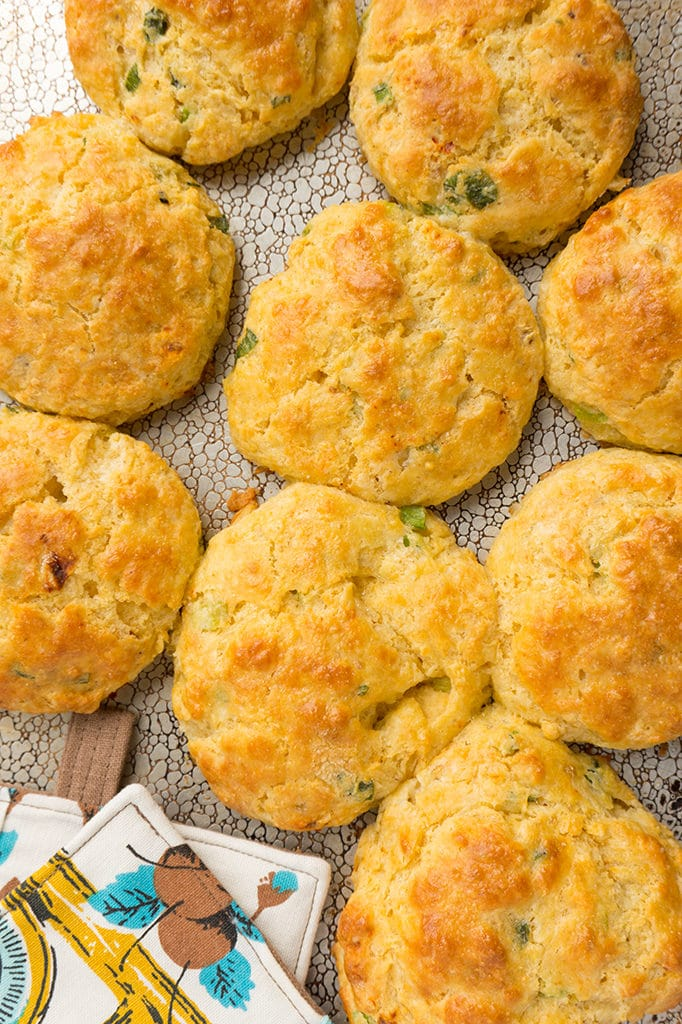 White Cheddar Chipotle Cornmeal Biscuits- on baking sheet overhead