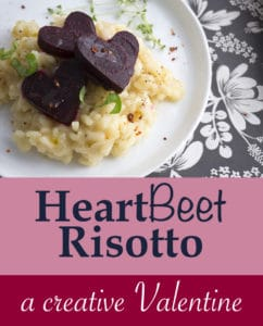 Creamy Parmesan Risotto topped with little HEART beets - a perfect way to save I love you. | #BEETRecipes | #VALENTINESDAY | #RISOTTORecipes | #ItalianRecipes | #VegetarianRecipes at OatandSesame.com