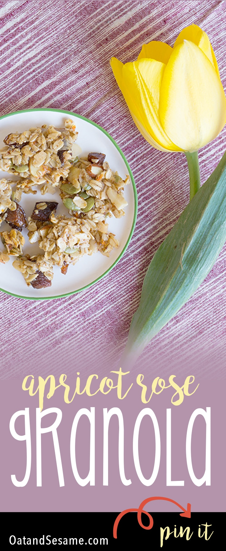 This granola is delicate and sweet with touches of rosewater, apricots and pumpkin seeds - Apricot Rose #Granola   #Recipes at OatandSesame.com