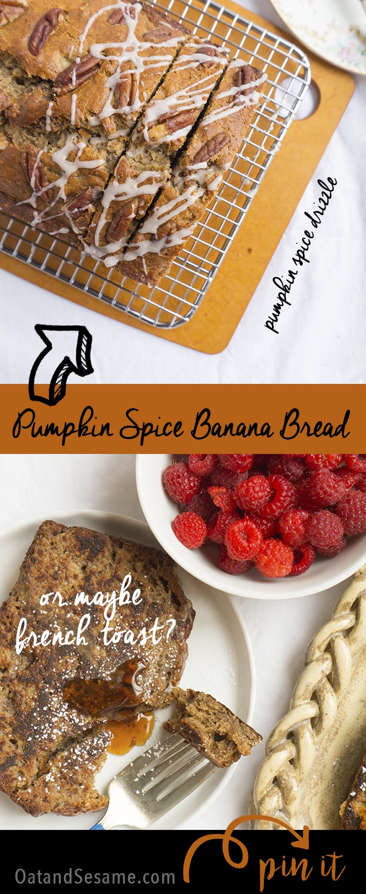 Elevate your fall baking with pumpkin spice extract in this delicious Banana Bread Gets a Fall Makeover! Pumpkin Spice Banana Bread | BAKING | #FALL | #BANANA | #PUMPKIN | #Recipes at OatandSesame.com